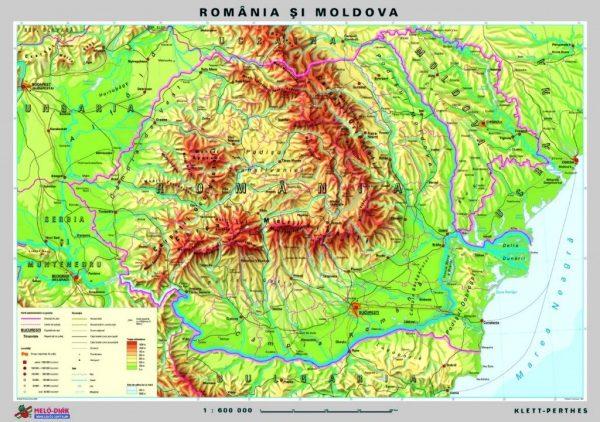 Romania - harta fizica - pe verso harta in contur 2