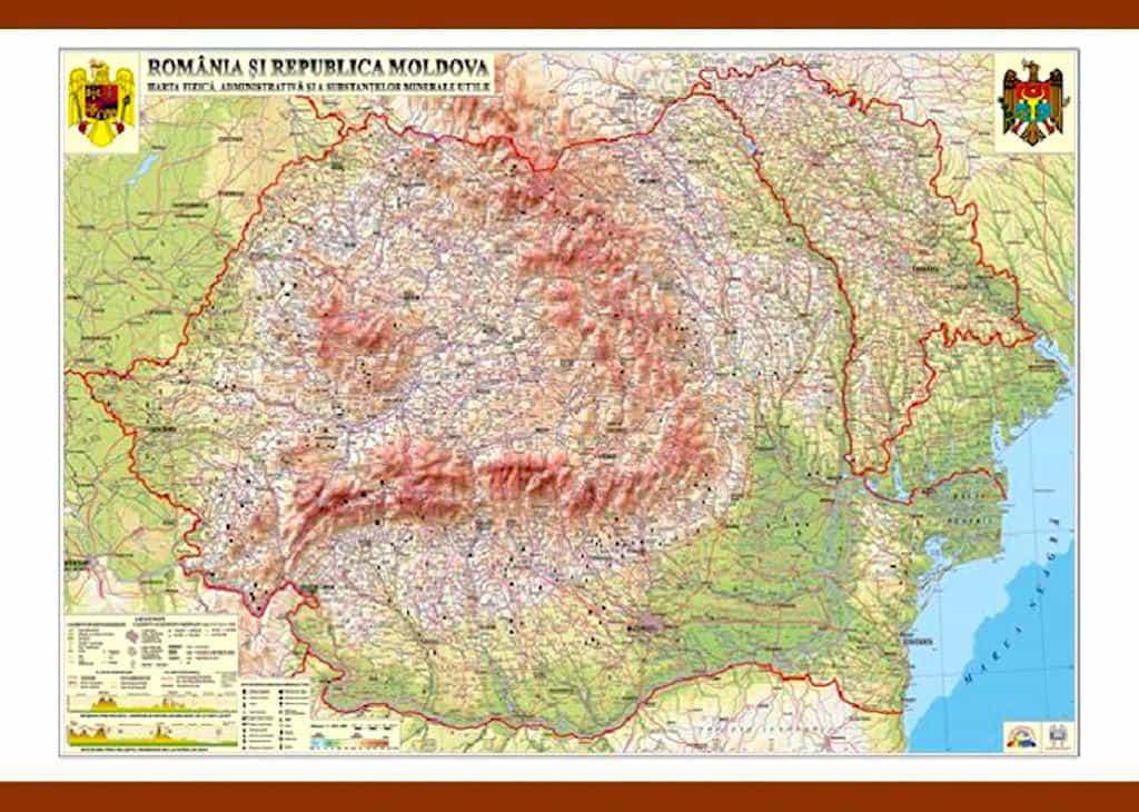 Romania Si Republica Moldova Harta Fizica Administrativa Si A