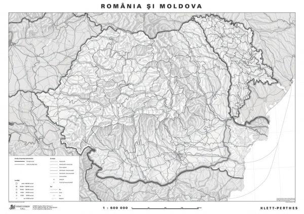 Romania - harta fizica - pe verso harta in contur 3
