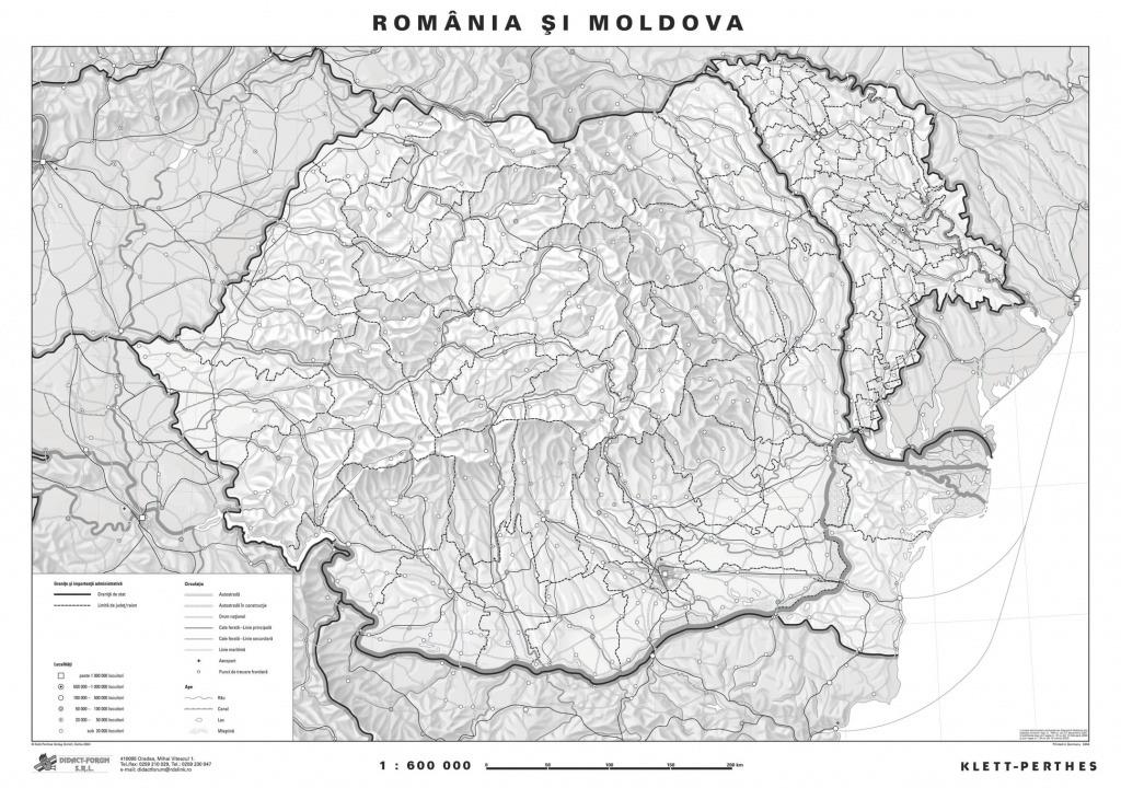 Romania Harta Fizica Pe Verso Harta In Contur