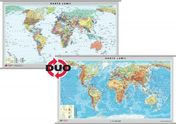 Harta fizica a Lumii - pe verso harta politica a Lumii 1