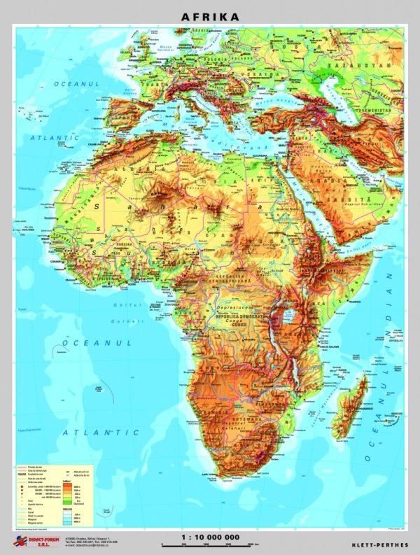 Africa - harta fizica - pe verso: harta politica a Africii 2
