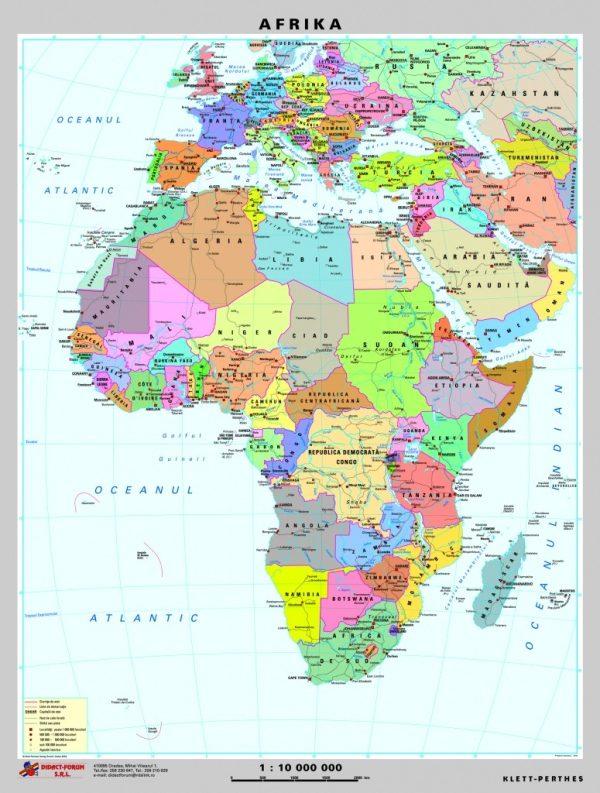 Africa - harta fizica - pe verso: harta politica a Africii 3