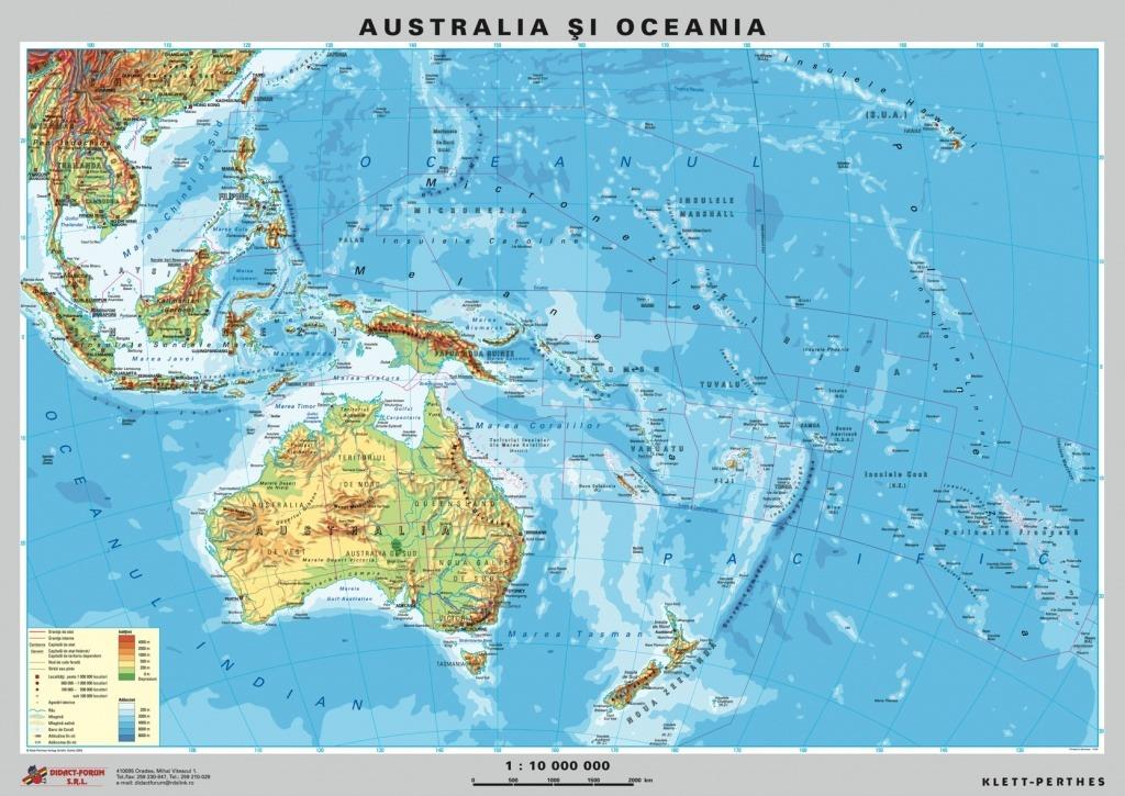 Australia Noua Zeelanda Harta Fizica Pe Verso Harta
