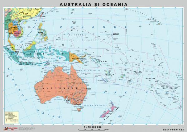 Australia - Noua Zeelanda - harta fizica - pe verso : harta politica a zonei 3