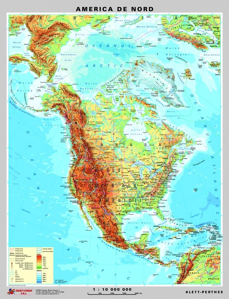 America De Nord Harta Fizica Pe Verso Harta Politica A
