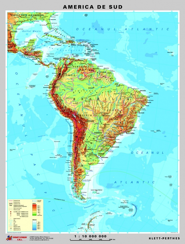 America De Sud Harta Fizica Pe Verso Harta Politica A