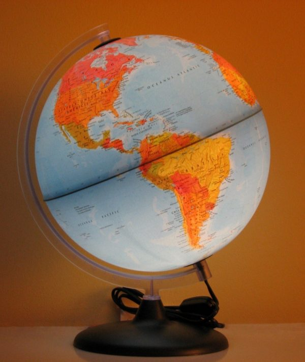 Glob geografic pamantesc iluminat, 30 cm 6
