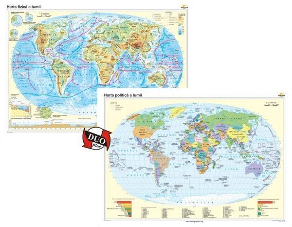 Harta fizica a Iumii si Harta politica a lumii 1