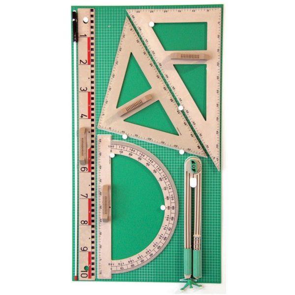 Trusa de instrumente geometrice pentru tabla din lemn reciclat 1