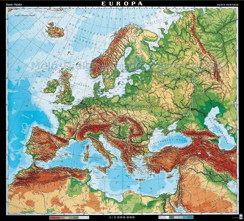 Europa Harta Fizica Limba Germana Materialedidactice Ro