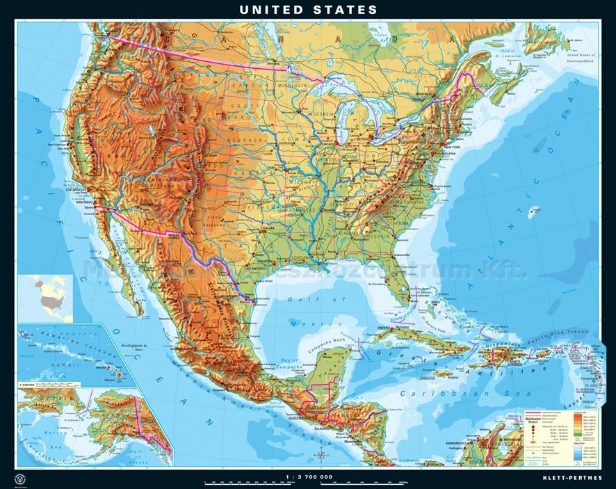 Statele Unite Ale Americii Harta Fizica Limba Engleza
