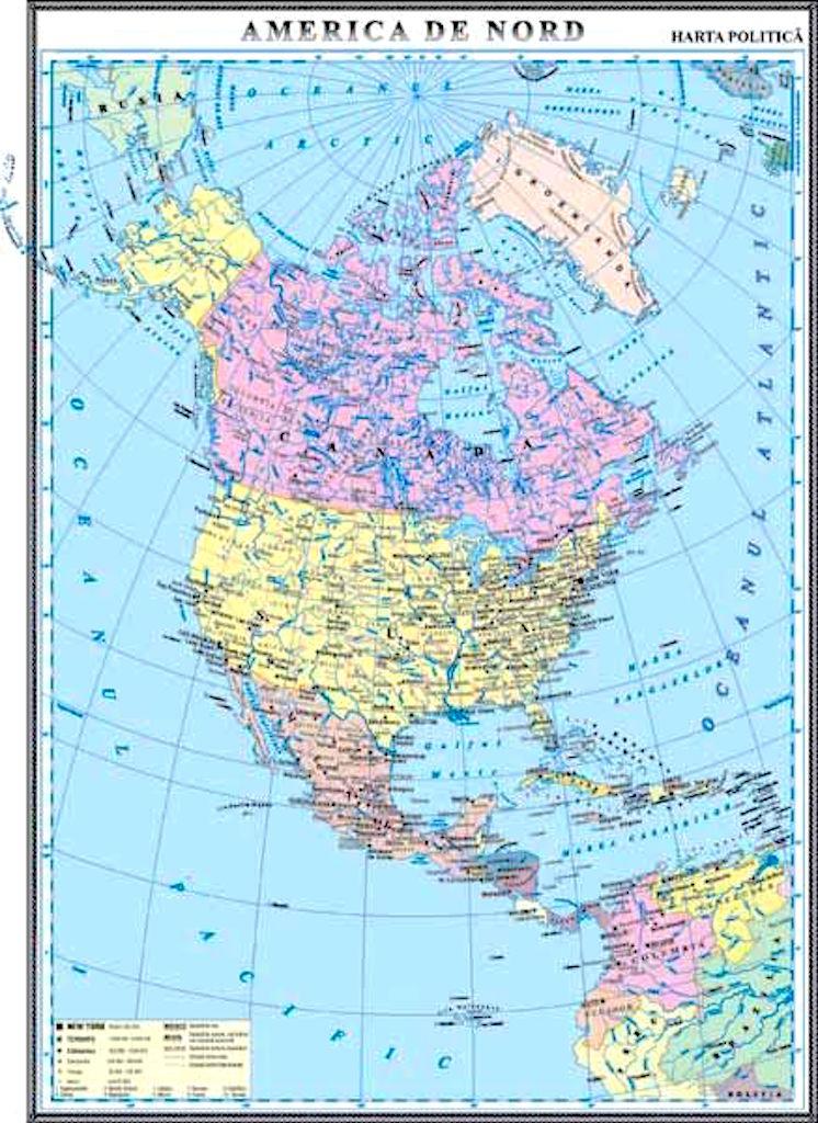 America De Nord Harta Politica Materialedidactice Ro