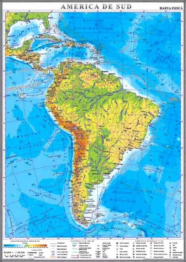 America de Sud. Harta fizica 1