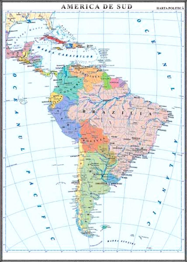 America De Sud Harta Politica Materialedidactice Ro