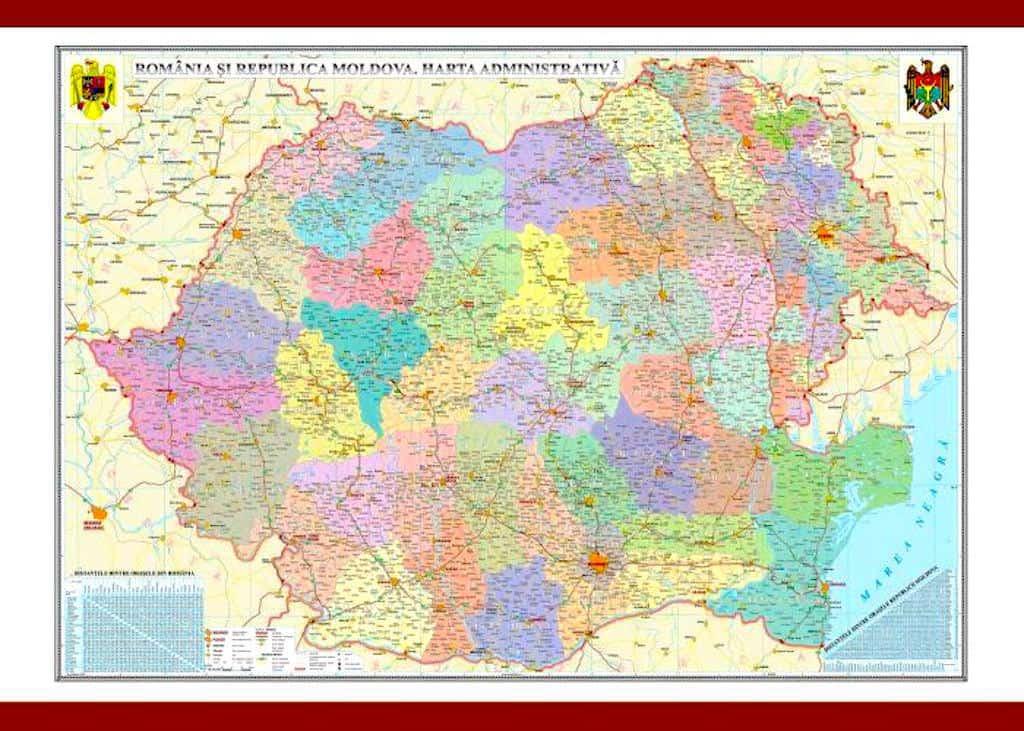 Romania Si Republica Moldova Harta Administrativa
