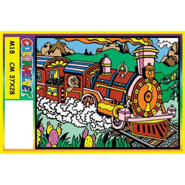 Plansa de colorat catifea - Trenul 1