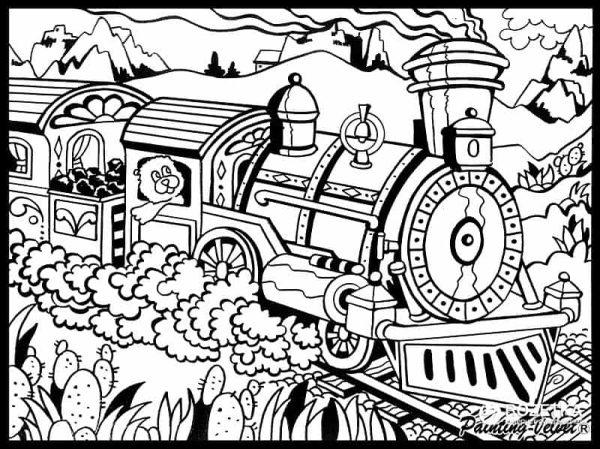 Plansa de colorat catifea - Trenul 2