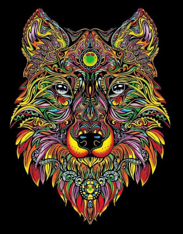 Plansa de colorat catifea - Lupul 1