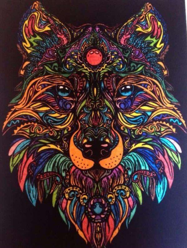 Plansa de colorat catifea - Lupul 8