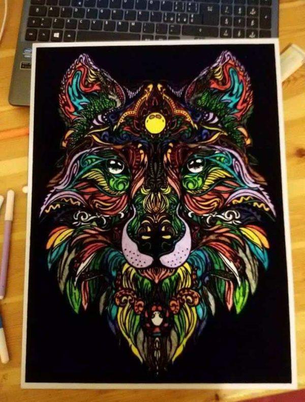Plansa de colorat catifea - Lupul 7