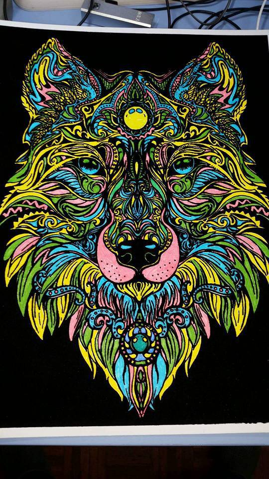 Plansa de colorat catifea - Lupul 4