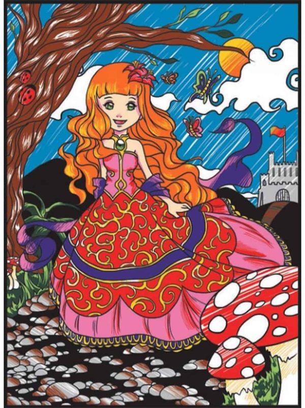 Plansa de colorat catifea - Printesa 1