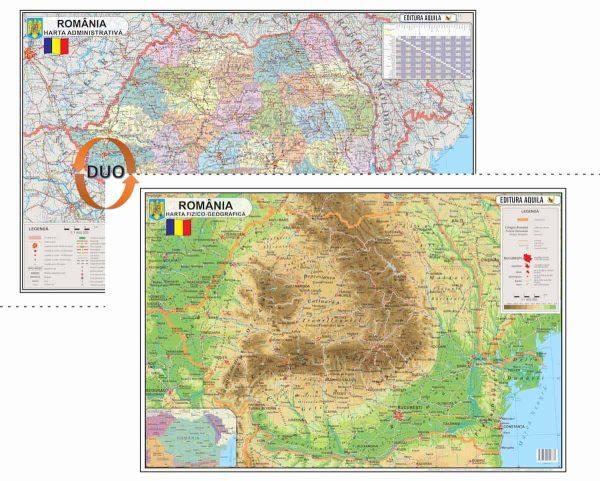 Harta fizica si administrativa a Romaniei 1