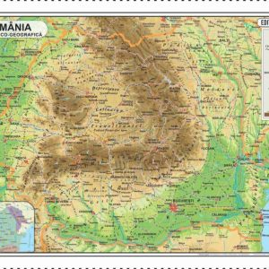 Harta fizica Romania 50x70 - Definitiva corectata 2017 BUNA
