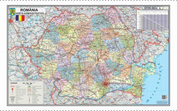 Harta fizica si administrativa a Romaniei 3