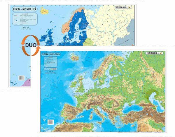 Harta fizica si administrativa a Europei 1