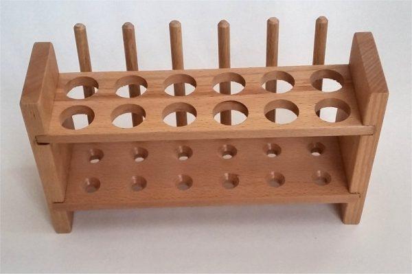 Stativ pentru eprubete mari - lemn 4